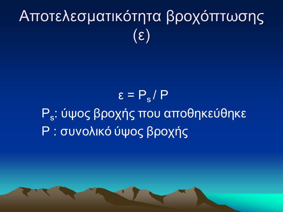 Αποτελεσματικότητα βροχόπτωσης (ε) ε = Ρ s / P P s : ύψος βροχής που αποθηκεύθηκε Ρ : συνολικό ύψος βροχής