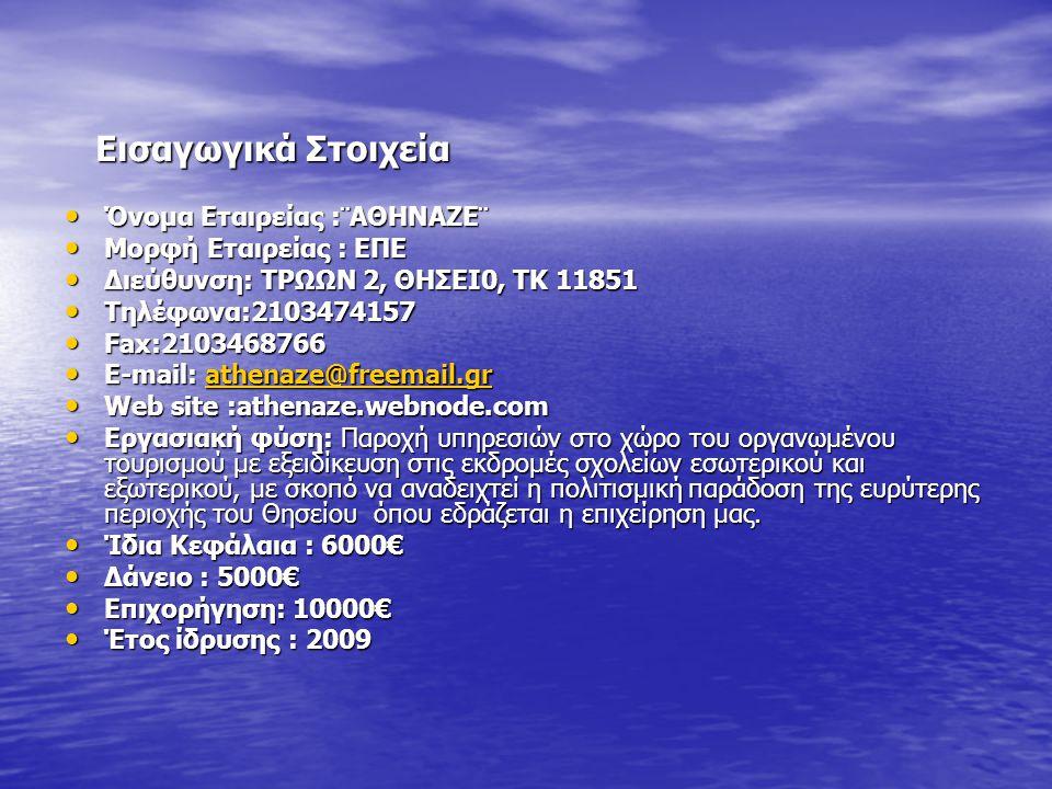 Εισαγωγικά Στοιχεία Εισαγωγικά Στοιχεία • Όνομα Εταιρείας :¨ΑΘΗΝΑΖΕ¨ • Μορφή Εταιρείας : ΕΠΕ • Διεύθυνση: ΤΡΩΩΝ 2, ΘΗΣΕΙ0, ΤΚ 11851 • Τηλέφωνα:2103474157 • Fax:2103468766 • E-mail: athenaze@freemail.gr athenaze@freemail.gr • Web site :athenaze.webnode.com • Εργασιακή φύση: Παροχή υπηρεσιών στο χώρο του οργανωμένου τουρισμού με εξειδίκευση στις εκδρομές σχολείων εσωτερικού και εξωτερικού, με σκοπό να αναδειχτεί η πολιτισμική παράδοση της ευρύτερης περιοχής του Θησείου όπου εδράζεται η επιχείρηση μας.