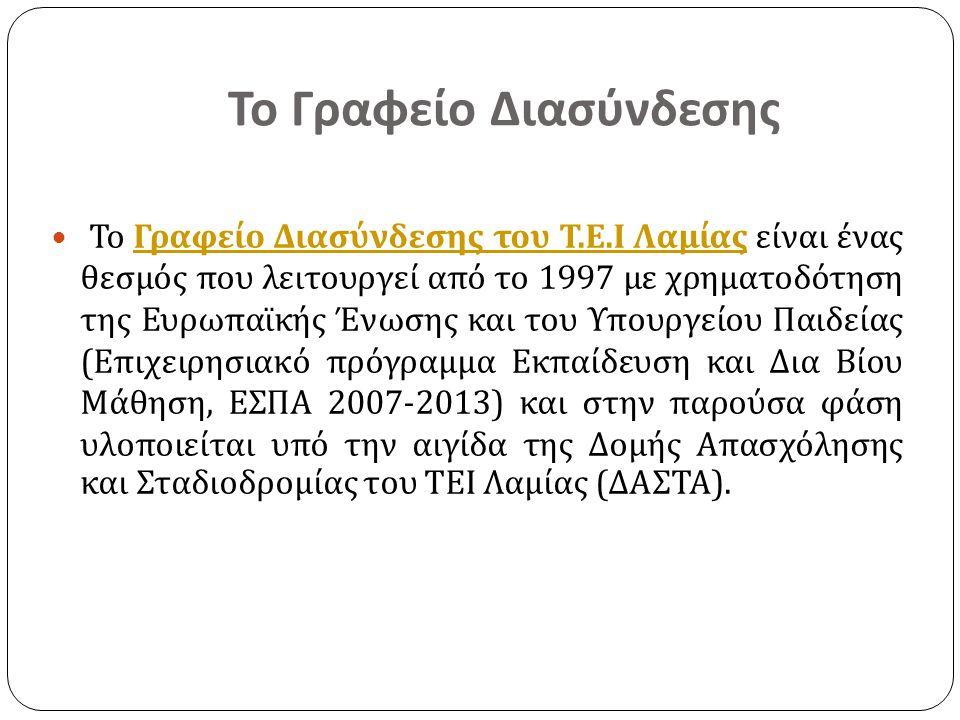 Στελέχωση του Γραφείου  Γκανέτσος Θεόδωρος, Καθηγητής Ηλεκτρονικής Επιστημονικός Υπεύθυνος του Έργου, e-mail: ganetsos@teilam.grganetsos@teilam.gr  Βελαώρα Χρυσούλα, Πληροφορικός ΠΕ Υπεύθυνη Διαχείρισης του Δικτυακού Τόπου του Γραφείου Διασύνδεσης του ΤΕΙ Λαμίας.
