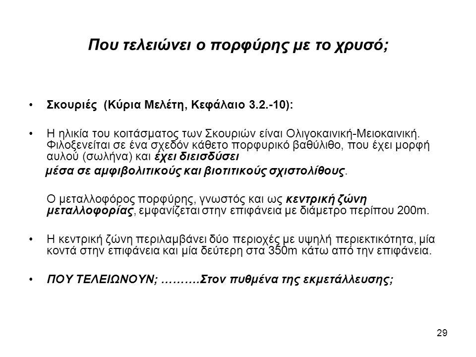 29 Που τελειώνει ο πορφύρης με το χρυσό; •Σκουριές (Κύρια Μελέτη, Κεφάλαιο 3.2.-10): •Η ηλικία του κοιτάσματος των Σκουριών είναι Ολιγοκαινική-Μειοκαι