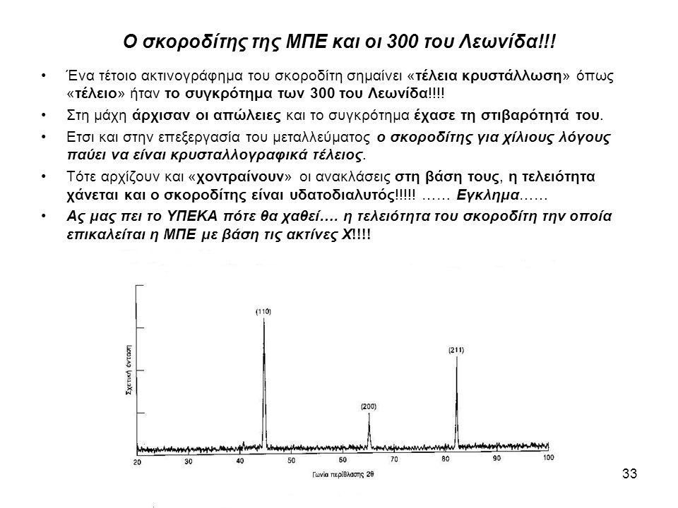 33 Ο σκοροδίτης της ΜΠΕ και οι 300 του Λεωνίδα!!! •Ένα τέτοιο ακτινογράφημα του σκοροδίτη σημαίνει «τέλεια κρυστάλλωση» όπως «τέλειο» ήταν το συγκρότη