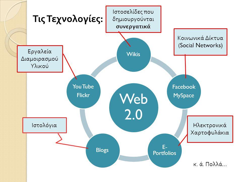 Τις Τεχνολογίες: Web 2.0 Wikis Facebook MySpace E- Portfolios Blogs You Tube Flickr Ηλεκτρονικά Χαρτοφυλάκια Ιστολόγια Κοινωνικά Δίκτυα (Social Networ