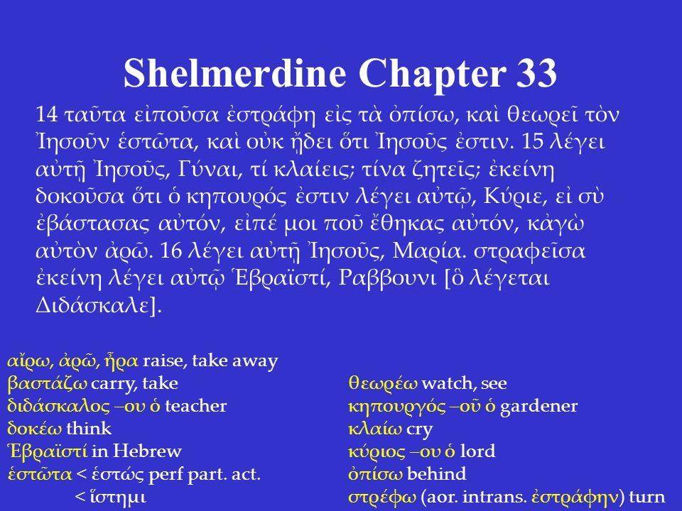 Shelmerdine Chapter 33 14 ταῦτα εἰποῦσα ἐστράφη εἰς τὰ ὀπίσω, καὶ θεωρεῖ τὸν Ἰησοῦν ἑστῶτα, καὶ οὐκ ᾔδει ὅτι Ἰησοῦς ἐστιν.