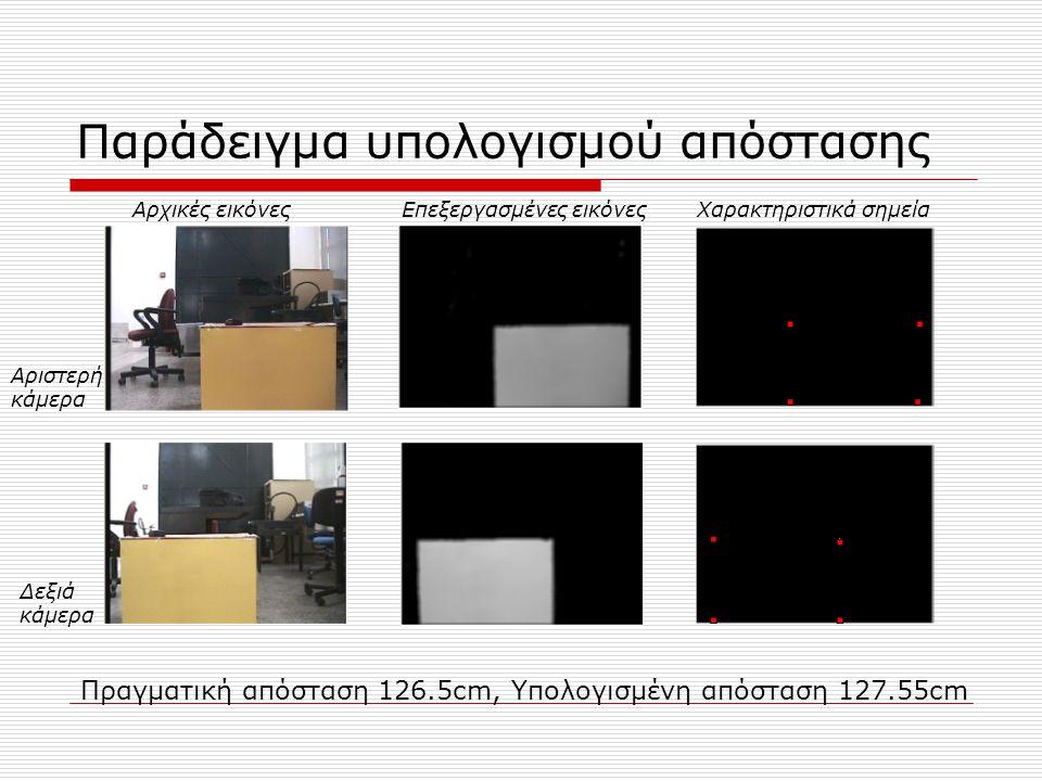 Παράδειγμα υπολογισμού απόστασης Αρχικές εικόνεςΕπεξεργασμένες εικόνεςΧαρακτηριστικά σημεία Αριστερή κάμερα Δεξιά κάμερα Πραγματική απόσταση 126.5cm, Υπολογισμένη απόσταση 127.55cm