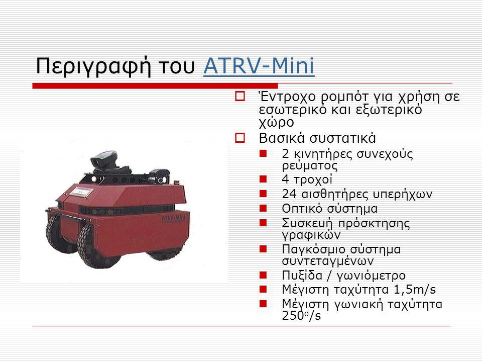 Περιγραφή του ATRV-MiniATRV-Mini  Έντροχο ρομπότ για χρήση σε εσωτερικό και εξωτερικό χώρο  Βασικά συστατικά  2 κινητήρες συνεχούς ρεύματος  4 τροχοί  24 αισθητήρες υπερήχων  Οπτικό σύστημα  Συσκευή πρόσκτησης γραφικών  Παγκόσμιο σύστημα συντεταγμένων  Πυξίδα / γωνιόμετρο  Μέγιστη ταχύτητα 1,5m/s  Μέγιστη γωνιακή ταχύτητα 250 ο /s