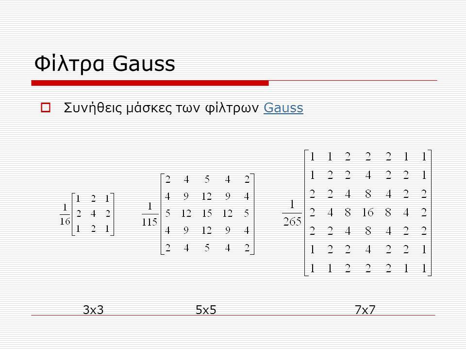 Φίλτρα Gauss 3x35x57x7  Συνήθεις μάσκες των φίλτρων GaussGauss