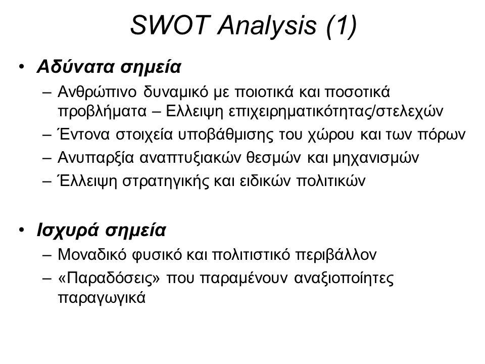 SWOT Analysis (1) •Αδύνατα σημεία –Ανθρώπινο δυναμικό με ποιοτικά και ποσοτικά προβλήματα – Ελλειψη επιχειρηματικότητας/στελεχών –Έντονα στοιχεία υποβάθμισης του χώρου και των πόρων –Ανυπαρξία αναπτυξιακών θεσμών και μηχανισμών –Έλλειψη στρατηγικής και ειδικών πολιτικών •Ισχυρά σημεία –Μοναδικό φυσικό και πολιτιστικό περιβάλλον –«Παραδόσεις» που παραμένουν αναξιοποίητες παραγωγικά