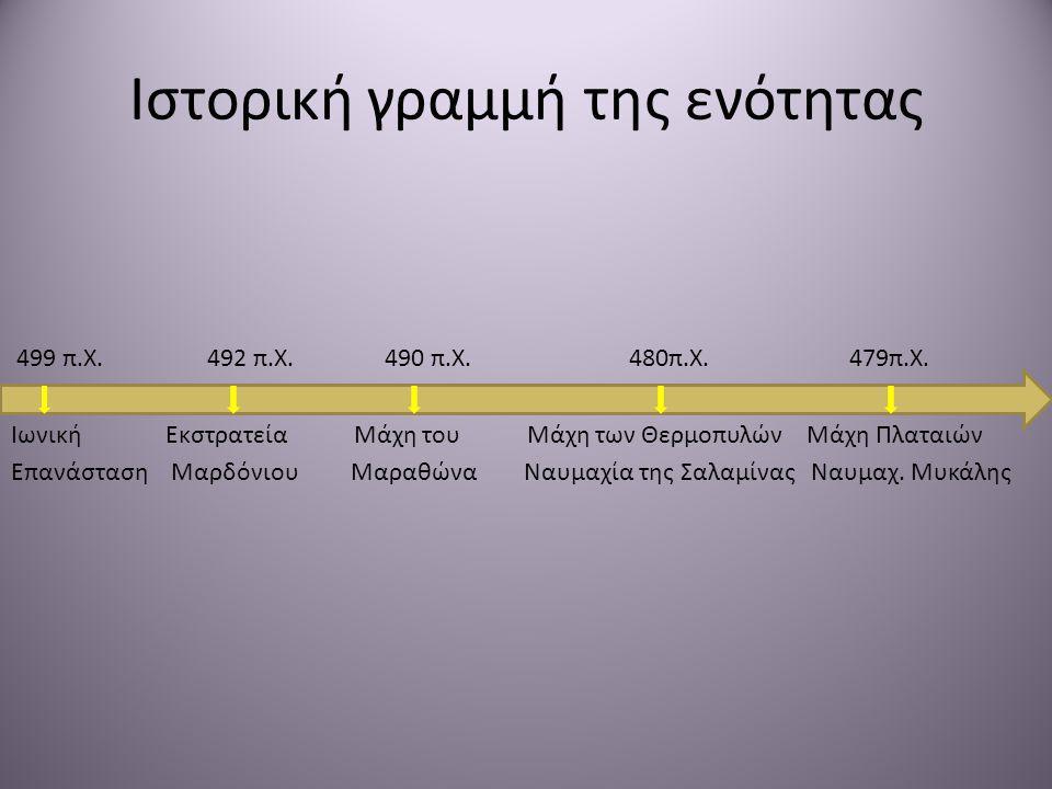 Ιστορική γραμμή της ενότητας 499 π.Χ. 492 π.Χ. 490 π.Χ. 480π.Χ. 479π.Χ. Ιωνική Εκστρατεία Μάχη του Μάχη των Θερμοπυλών Μάχη Πλαταιών Επανάσταση Μαρδόν
