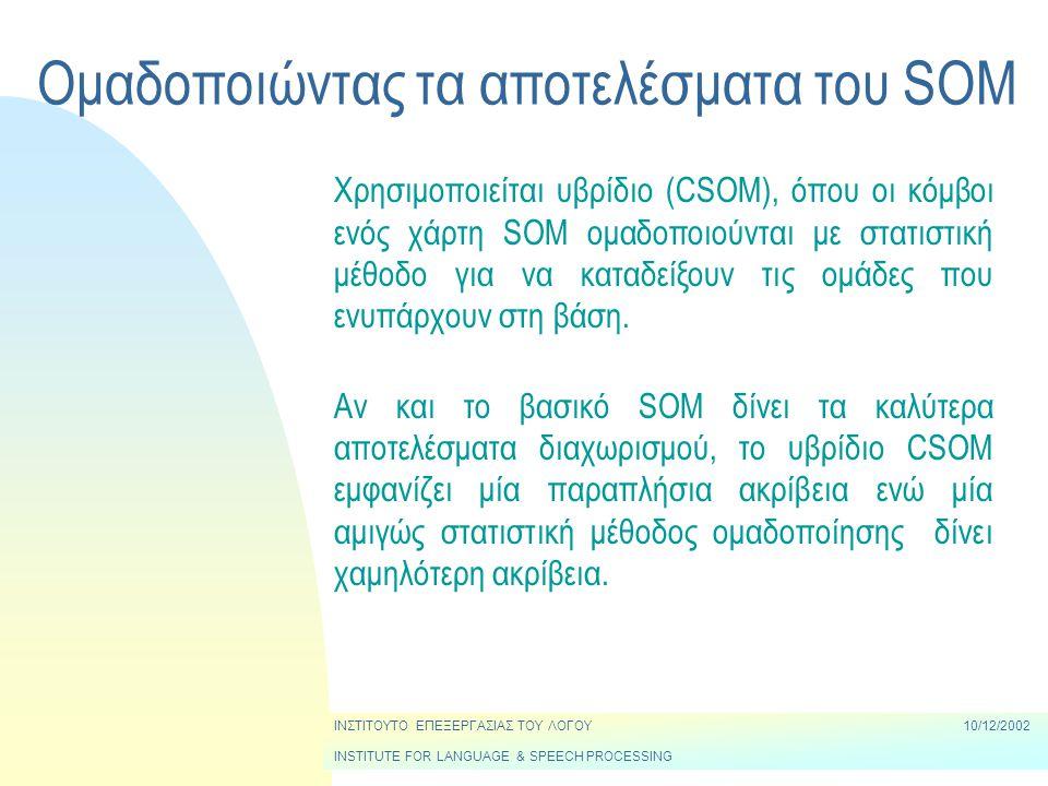 Ομαδοποιώντας τα αποτελέσματα του SOM ΙΝΣΤΙΤΟΥΤΟ ΕΠΕΞΕΡΓΑΣΙΑΣ ΤΟΥ ΛΟΓΟΥ10/12/2002 INSTITUTE FOR LANGUAGE & SPEECH PROCESSING Χρησιμοποιείται υβρίδιο (CSOM), όπου οι κόμβοι ενός χάρτη SOM ομαδοποιούνται με στατιστική μέθοδο για να καταδείξουν τις ομάδες που ενυπάρχουν στη βάση.