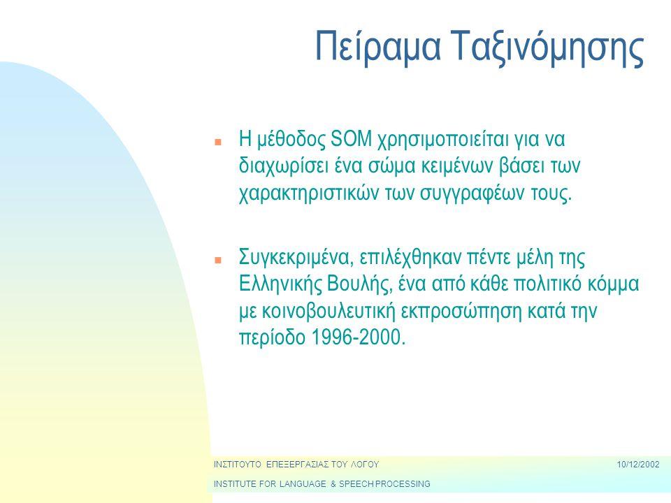 Πείραμα Ταξινόμησης n Η μέθοδος SOM χρησιμοποιείται για να διαχωρίσει ένα σώμα κειμένων βάσει των χαρακτηριστικών των συγγραφέων τους.