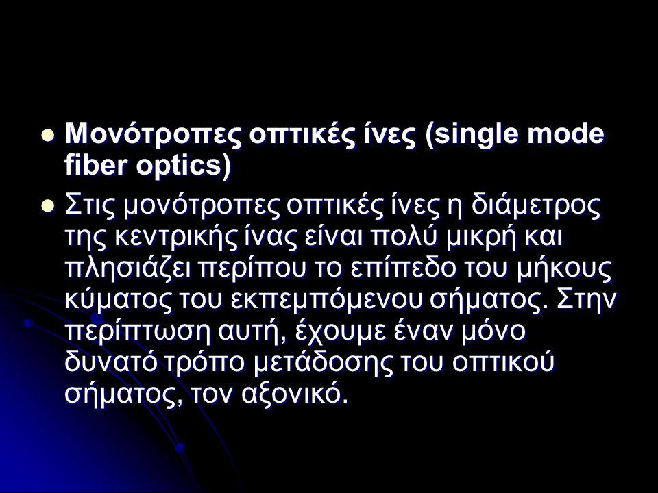  Μονότροπες οπτικές ίνες (single mode fiber optics)  Στις μονότροπες οπτικές ίνες η διάμετρος της κεντρικής ίνας είναι πολύ μικρή και πλησιάζει περί