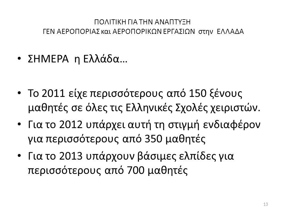 ΠΟΛΙΤΙΚΗ ΓΙΑ ΤΗΝ ΑΝΑΠΤΥΞΗ ΓΕΝ ΑΕΡΟΠΟΡΙΑΣ και ΑΕΡΟΠΟΡΙΚΩΝ ΕΡΓΑΣΙΩΝ στην ΕΛΛΑΔΑ • ΣΗΜΕΡΑ η Ελλάδα… • Το 2011 είχε περισσότερους από 150 ξένους μαθητές σ