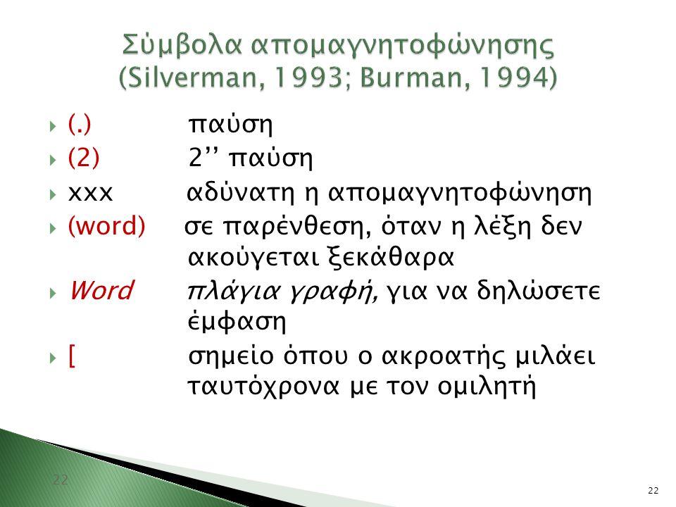 22 Σύμβολα απομαγνητοφώνησης (Silverman, 1993; Burman, 1994) 22  (.) παύση  (2) 2'' παύση  xxx αδύνατη η απομαγνητοφώνηση  (word) σε παρένθεση, ότ