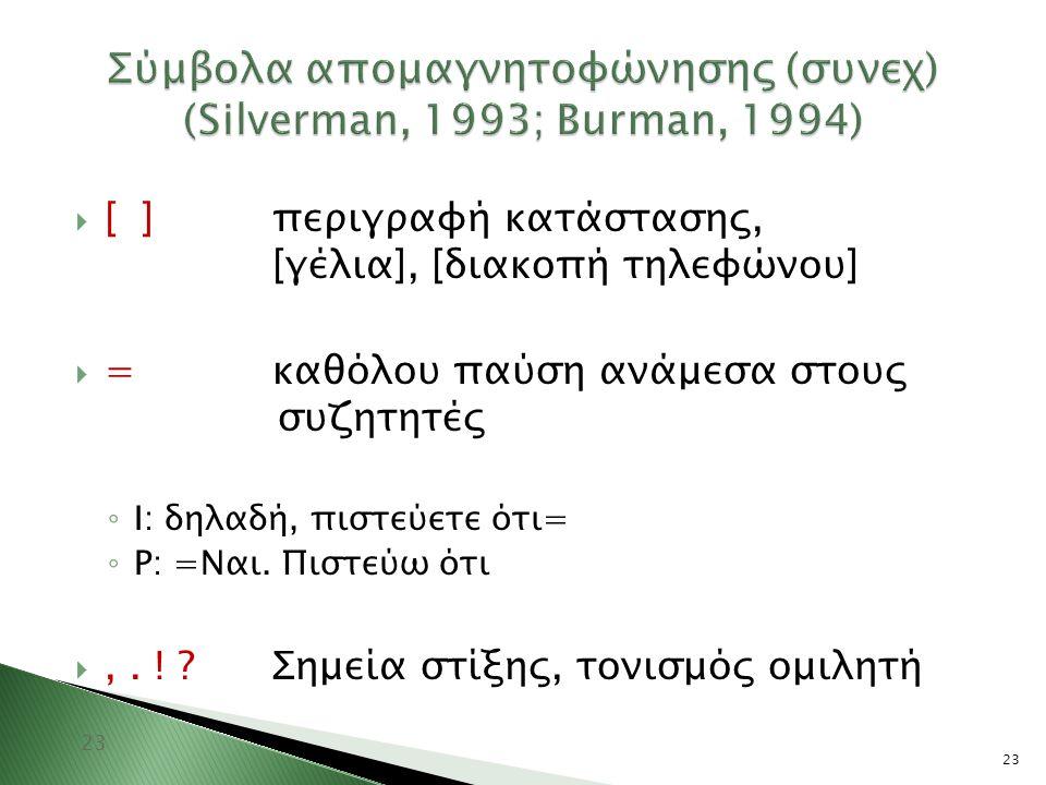 23 Σύμβολα απομαγνητοφώνησης (συνεχ) (Silverman, 1993; Burman, 1994) 23  [ ]περιγραφή κατάστασης, [γέλια], [διακοπή τηλεφώνου]  =καθόλου παύση ανάμε