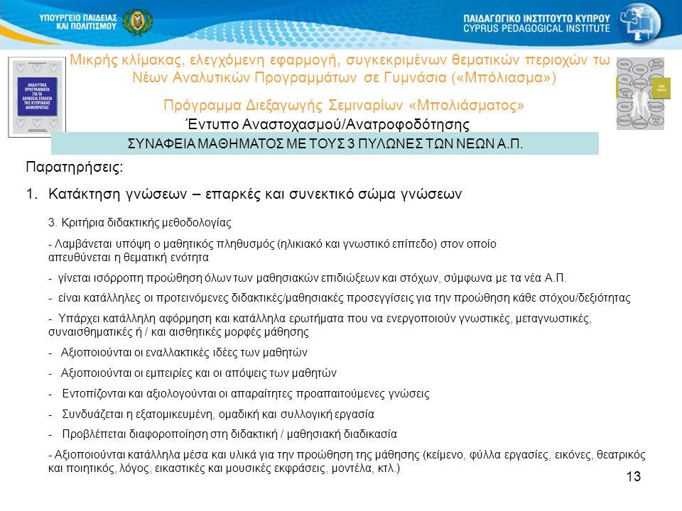 13 Μικρής κλίμακας, ελεγχόμενη εφαρμογή, συγκεκριμένων θεματικών περιοχών των Νέων Αναλυτικών Προγραμμάτων σε Γυμνάσια («Μπόλιασμα») Πρόγραμμα Διεξαγωγής Σεμιναρίων «Μπολιάσματος» Έντυπο Αναστοχασμού/Ανατροφοδότησης ΣΥΝΑΦΕΙΑ ΜΑΘΗΜΑΤΟΣ ΜΕ ΤΟΥΣ 3 ΠΥΛΩΝΕΣ ΤΩΝ ΝΕΩΝ Α.Π.