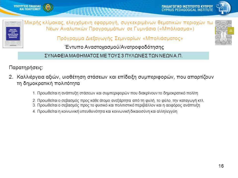 16 Μικρής κλίμακας, ελεγχόμενη εφαρμογή, συγκεκριμένων θεματικών περιοχών των Νέων Αναλυτικών Προγραμμάτων σε Γυμνάσια («Μπόλιασμα») Πρόγραμμα Διεξαγωγής Σεμιναρίων «Μπολιάσματος» Έντυπο Αναστοχασμού/Ανατροφοδότησης ΣΥΝΑΦΕΙΑ ΜΑΘΗΜΑΤΟΣ ΜΕ ΤΟΥΣ 3 ΠΥΛΩΝΕΣ ΤΩΝ ΝΕΩΝ Α.Π.