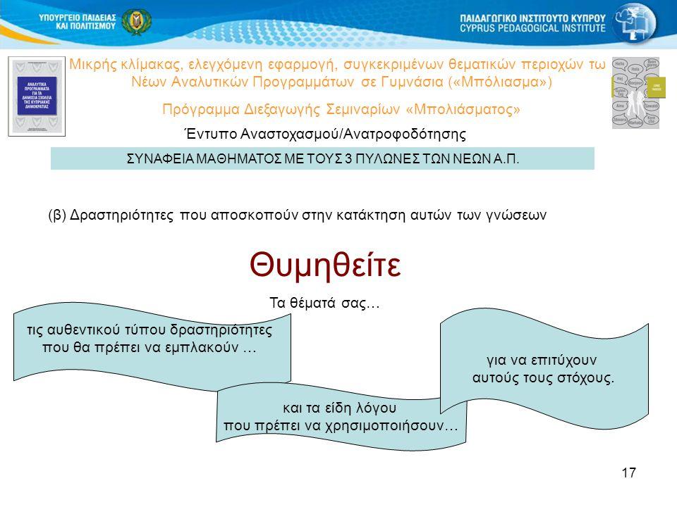 17 Μικρής κλίμακας, ελεγχόμενη εφαρμογή, συγκεκριμένων θεματικών περιοχών των Νέων Αναλυτικών Προγραμμάτων σε Γυμνάσια («Μπόλιασμα») Πρόγραμμα Διεξαγωγής Σεμιναρίων «Μπολιάσματος» Έντυπο Αναστοχασμού/Ανατροφοδότησης ΣΥΝΑΦΕΙΑ ΜΑΘΗΜΑΤΟΣ ΜΕ ΤΟΥΣ 3 ΠΥΛΩΝΕΣ ΤΩΝ ΝΕΩΝ Α.Π.