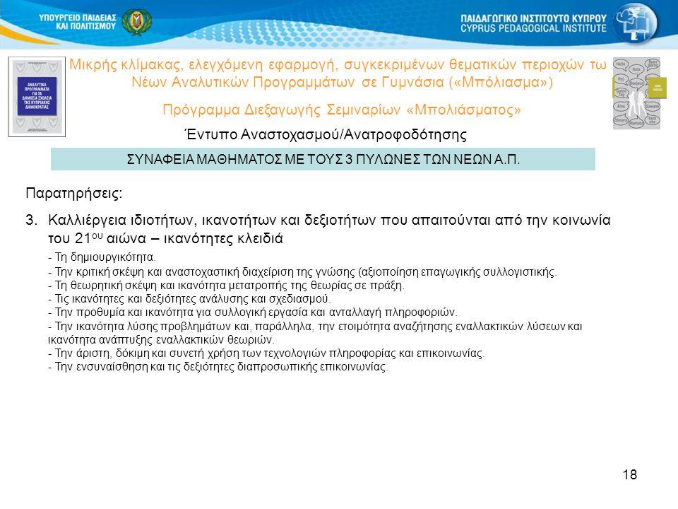 18 Μικρής κλίμακας, ελεγχόμενη εφαρμογή, συγκεκριμένων θεματικών περιοχών των Νέων Αναλυτικών Προγραμμάτων σε Γυμνάσια («Μπόλιασμα») Πρόγραμμα Διεξαγωγής Σεμιναρίων «Μπολιάσματος» Έντυπο Αναστοχασμού/Ανατροφοδότησης ΣΥΝΑΦΕΙΑ ΜΑΘΗΜΑΤΟΣ ΜΕ ΤΟΥΣ 3 ΠΥΛΩΝΕΣ ΤΩΝ ΝΕΩΝ Α.Π.