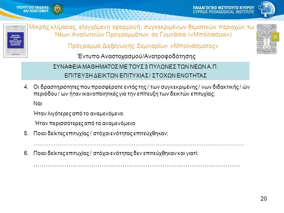 20 Μικρής κλίμακας, ελεγχόμενη εφαρμογή, συγκεκριμένων θεματικών περιοχών των Νέων Αναλυτικών Προγραμμάτων σε Γυμνάσια («Μπόλιασμα») Πρόγραμμα Διεξαγωγής Σεμιναρίων «Μπολιάσματος» Έντυπο Αναστοχασμού/Ανατροφοδότησης ΕΠΙΤΕΥΞΗ ΔΕΙΚΤΩΝ ΕΠΙΤΥΧΙΑΣ / ΣΤΟΧΩΝ ΕΝΟΤΗΤΑΣ 4.Οι δραστηριότητες που προσφέρατε εντός της / των συγκεκριμένης / νων διδακτικής / ών περιόδου / ων ήταν ικανοποιητικές για την επίτευξη των δεικτών επιτυχίας; Ναι Ήταν λιγότερες από το αναμενόμενο Ήταν περισσότερες από το αναμενόμενο 5.Ποιοι δείκτες επιτυχίας / στόχοι ενότητας επιτεύχθηκαν; …………………………………………………………………………………………………… 6.Ποιοι δείκτες επιτυχίας / στόχοι ενότητας δεν επιτεύχθηκαν και γιατί; ……………………………………………………………………………………… ΣΥΝΑΦΕΙΑ ΜΑΘΗΜΑΤΟΣ ΜΕ ΤΟΥΣ 3 ΠΥΛΩΝΕΣ ΤΩΝ ΝΕΩΝ Α.Π.