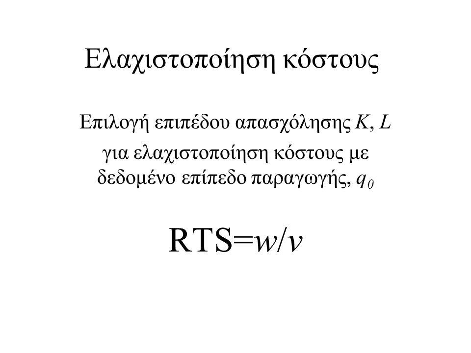 Ελαχιστοποίηση κόστους Επιλογή επιπέδου απασχόλησης K, L για ελαχιστοποίηση κόστους με δεδομένο επίπεδο παραγωγής, q 0 RTS=w/v