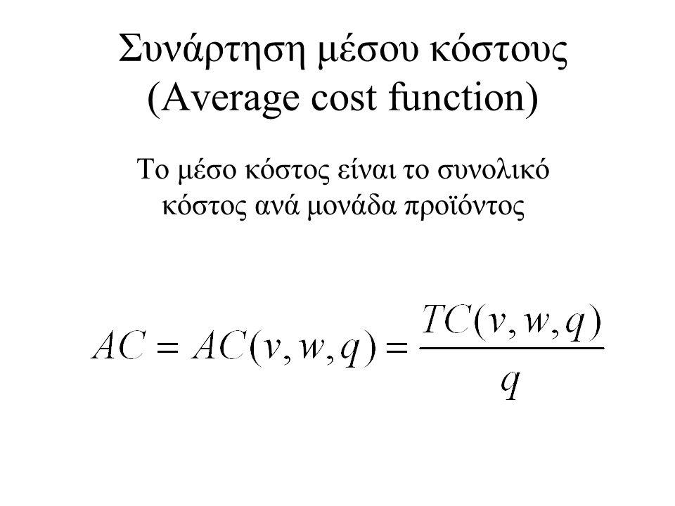Συνάρτηση μέσου κόστους (Average cost function) Το μέσο κόστος είναι το συνολικό κόστος ανά μονάδα προϊόντος