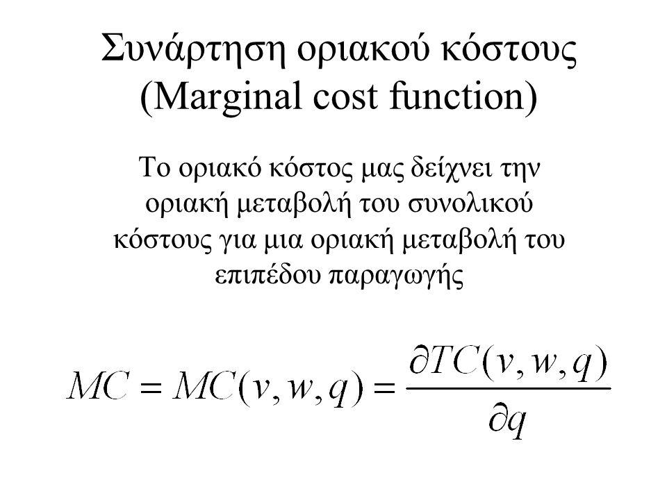 Συνάρτηση οριακού κόστους (Marginal cost function) Το οριακό κόστος μας δείχνει την οριακή μεταβολή του συνολικού κόστους για μια οριακή μεταβολή του