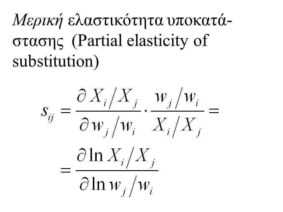 Μερική ελαστικότητα υποκατά- στασης (Partial elasticity of substitution)