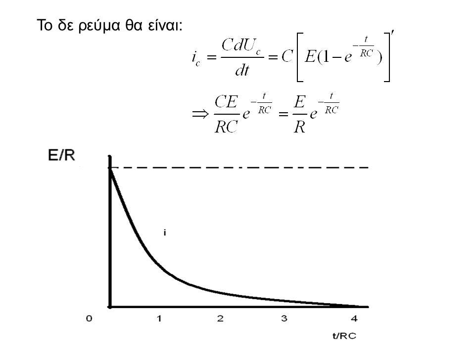Εκφόρτιση πυκνωτή αρχικές συνθήκες t ≤ 0 → Uc = Ε Από Kirrchhoff έχουμε: Uc-iR=0