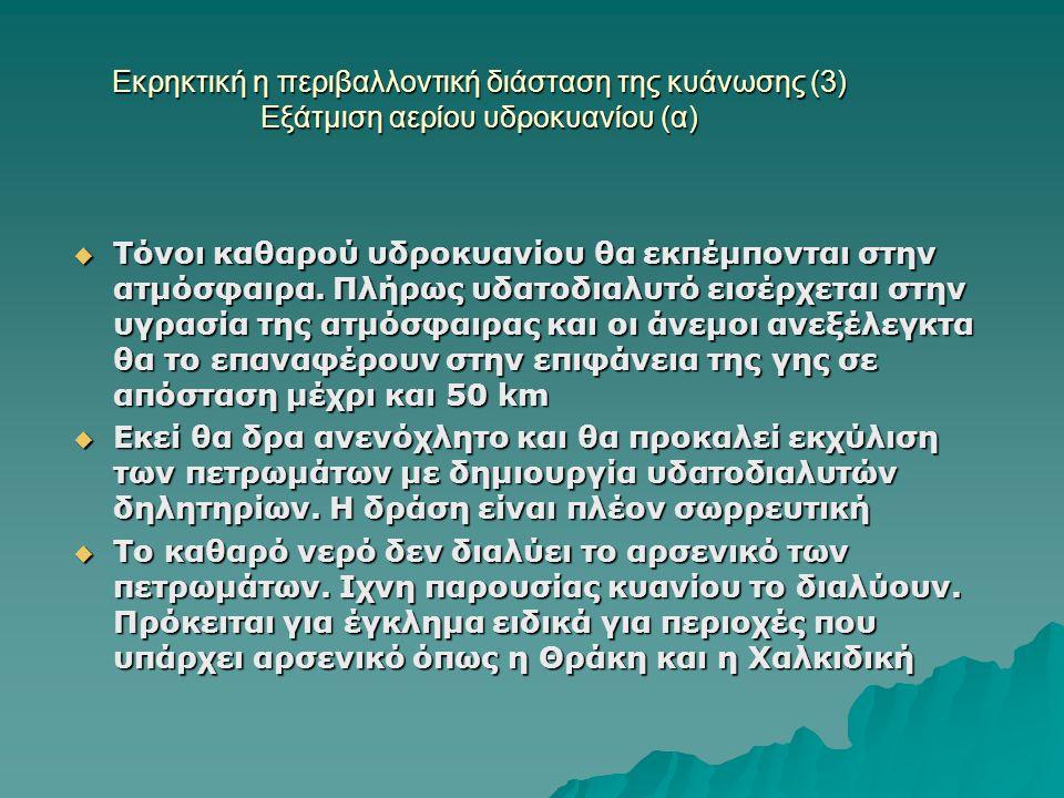 Εκρηκτική η περιβαλλοντική διάσταση της κυάνωσης (3) Εξάτμιση αερίου υδροκυανίου (α)  Τόνοι καθαρού υδροκυανίου θα εκπέμπονται στην ατμόσφαιρα. Πλήρω