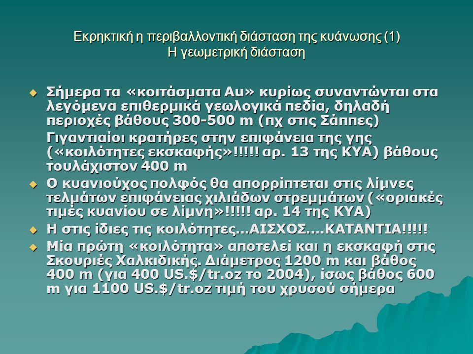 Εκρηκτική η περιβαλλοντική διάσταση της κυάνωσης (1) Η γεωμετρική διάσταση  Σήμερα τα «κοιτάσματα Αu» κυρίως συναντώνται στα λεγόμενα επιθερμικά γεωλογικά πεδία, δηλαδή περιοχές βάθους 300-500 m (πχ στις Σάππες) Γιγαντιαίοι κρατήρες στην επιφάνεια της γης («κοιλότητες εκσκαφής»!!!!.