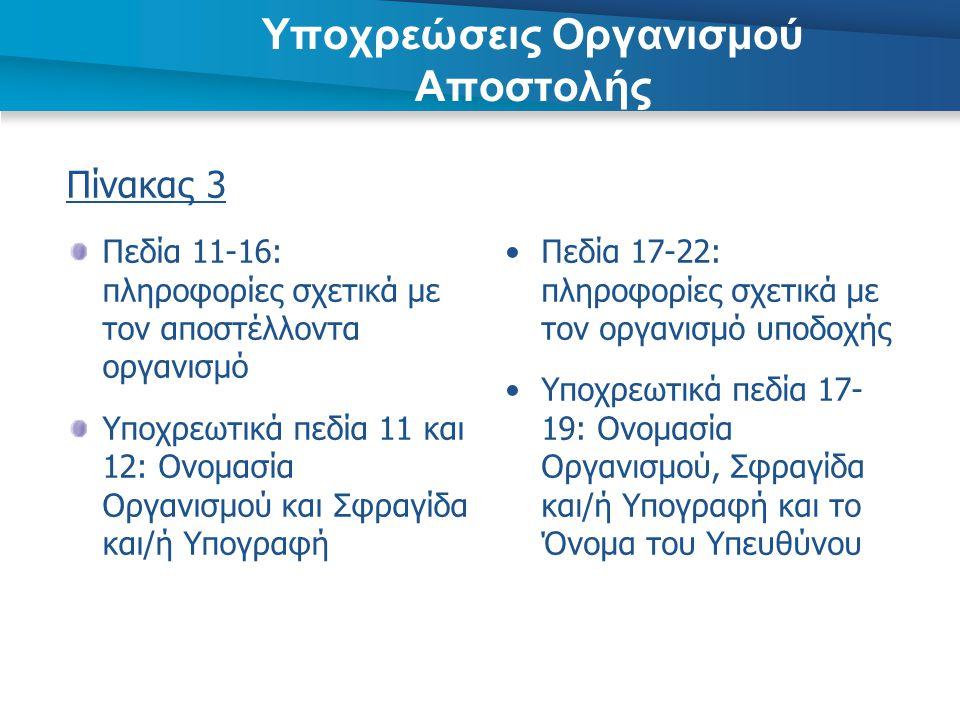 Πίνακας 3 Πεδία 11-16: πληροφορίες σχετικά με τον αποστέλλοντα οργανισμό Υποχρεωτικά πεδία 11 και 12: Ονομασία Οργανισμού και Σφραγίδα και/ή Υπογραφή