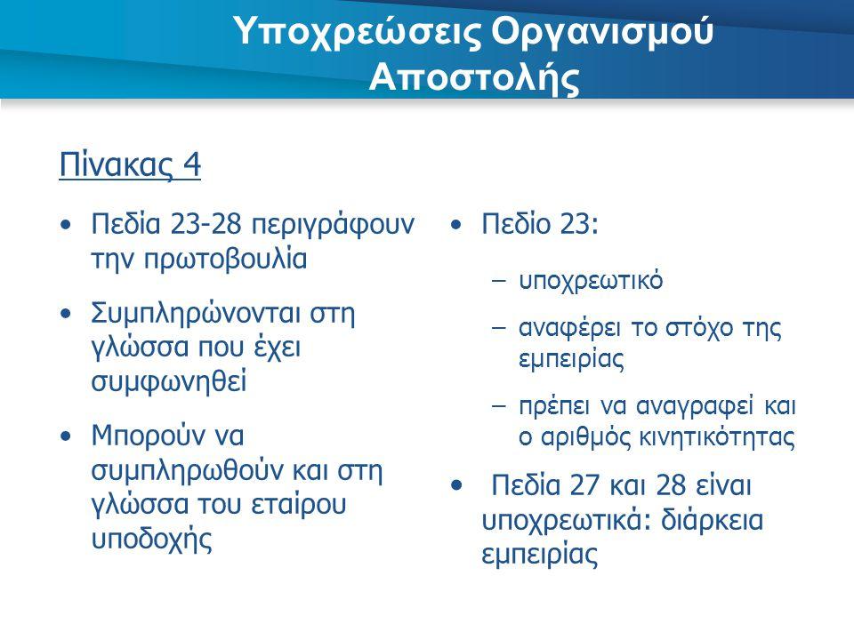 Πίνακας 4 •Πεδία 23-28 περιγράφουν την πρωτοβουλία •Συμπληρώνονται στη γλώσσα που έχει συμφωνηθεί •Μπορούν να συμπληρωθούν και στη γλώσσα του εταίρου