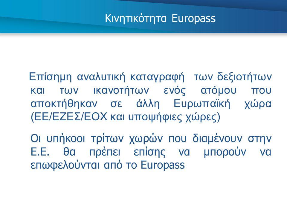Κινητικότητα Europass Επίσημη αναλυτική καταγραφή των δεξιοτήτων και των ικανοτήτων ενός ατόμου που αποκτήθηκαν σε άλλη Ευρωπαϊκή χώρα (ΕΕ/ΕΖΕΣ/ΕΟΧ κα