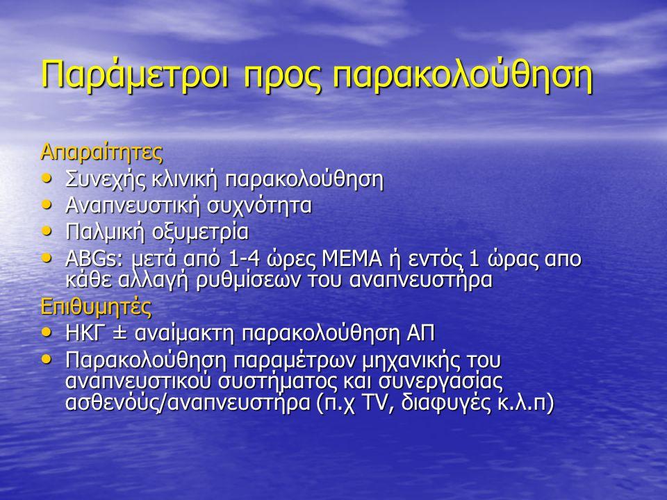 Παράμετροι προς παρακολούθηση Απαραίτητες • Συνεχής κλινική παρακολούθηση • Αναπνευστική συχνότητα • Παλμική οξυμετρία • ABGs: μετά από 1-4 ώρες ΜΕΜΑ
