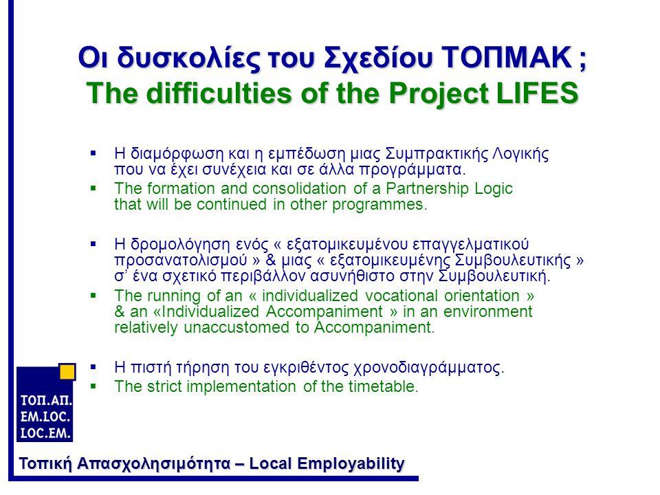 Τοπική Απασχολησιμότητα – Local Employability Οι δυσκολίες του Σχεδίου ΤΟΠΜΑΚ ; The difficulties of the Project LIFES  Η διαμόρφωση και η εμπέδωση μιας Συμπρακτικής Λογικής που να έχει συνέχεια και σε άλλα προγράμματα.