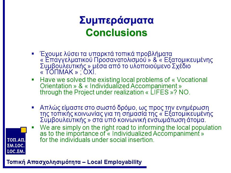 Τοπική Απασχολησιμότητα – Local Employability Συμπεράσματα Conclusions  Έχουμε λύσει τα υπαρκτά τοπικά προβλήματα « Επαγγελματικού Προσανατολισμού » & « Εξατομικευμένης Συμβουλευτικής » μέσα από το υλοποιούμενο Σχέδιο « ΤΟΠΜΑΚ » ; ΟΧΙ.