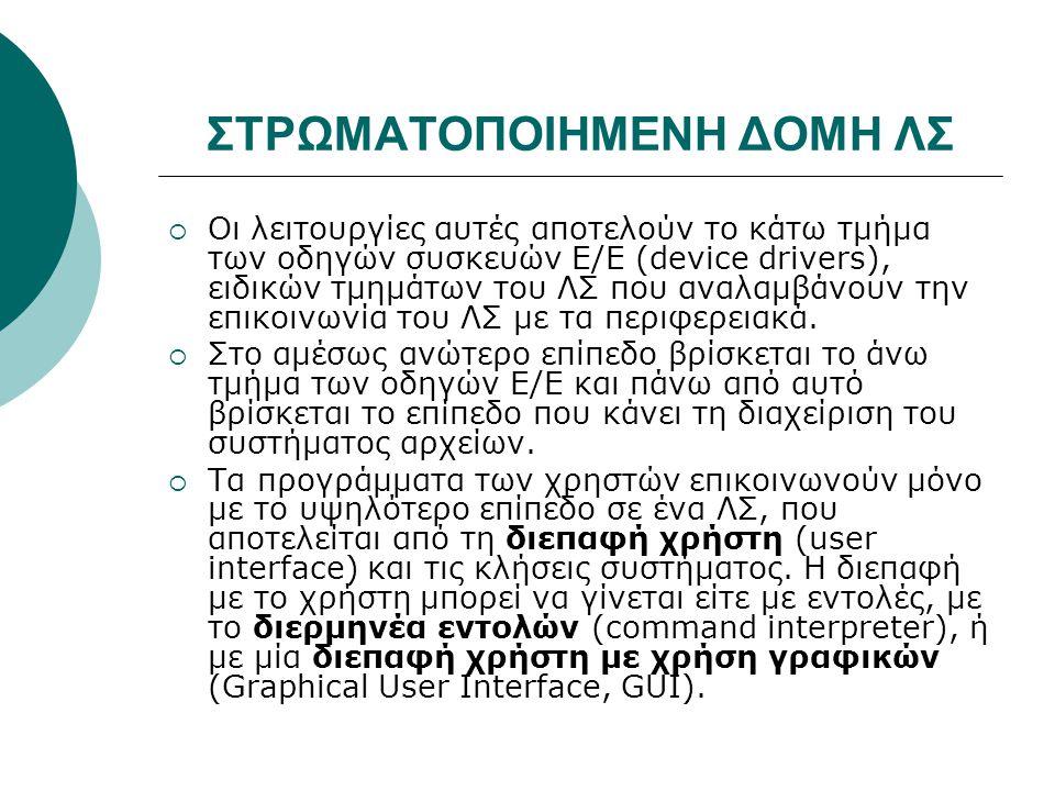 ΣΤΡΩΜΑΤΟΠΟΙΗΜΕΝΗ ΔΟΜΗ ΛΣ  Οι λειτουργίες αυτές αποτελούν το κάτω τμήμα των οδηγών συσκευών Ε/Ε (device drivers), ειδικών τμημάτων του ΛΣ που αναλαμβάνουν την επικοινωνία του ΛΣ με τα περιφερειακά.