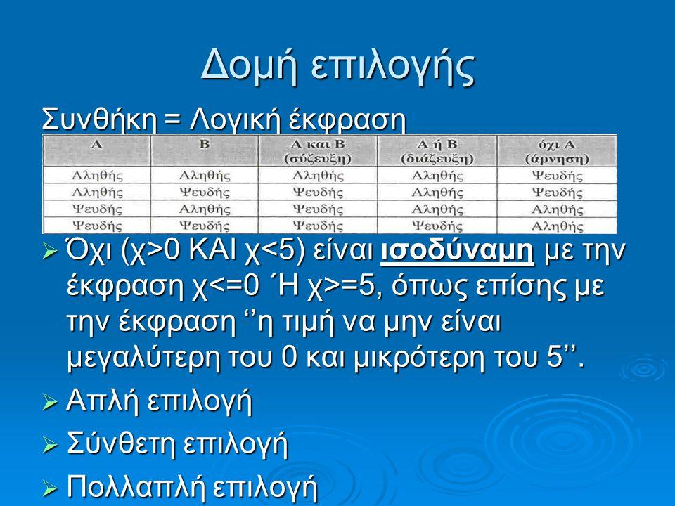 Δομή επιλογής Συνθήκη = Λογική έκφραση  Όχι (χ>0 ΚΑΙ χ =5, όπως επίσης με την έκφραση ''η τιμή να μην είναι μεγαλύτερη του 0 και μικρότερη του 5''.