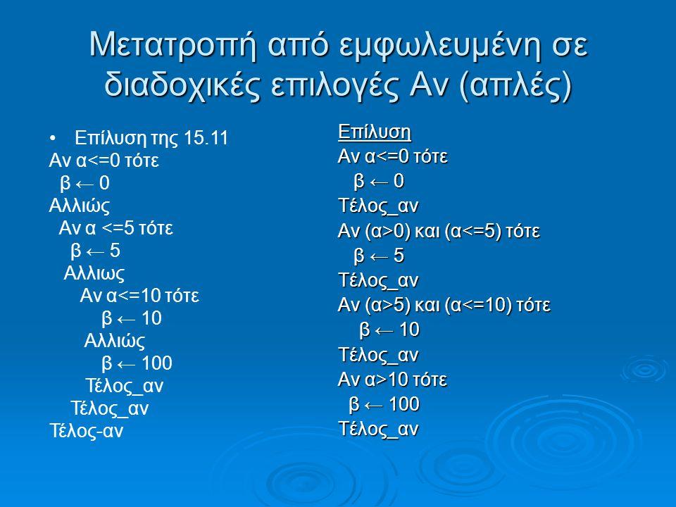 Μετατροπή από εμφωλευμένη σε διαδοχικές επιλογές Αν (απλές) Επίλυση Αν α<=0 τότε β ← 0 β ← 0Τέλος_αν Αν (α>0) και (α 0) και (α<=5) τότε β ← 5 β ← 5Τέλος_αν Αν (α>5) και (α 5) και (α<=10) τότε β ← 10 β ← 10Τέλος_αν Αν α>10 τότε β ← 100 β ← 100Τέλος_αν •Επίλυση της 15.11 Αν α<=0 τότε β ← 0 Αλλιώς Αν α <=5 τότε β ← 5 Αλλιως Αν α<=10 τότε β ← 10 Αλλιώς β ← 100 Τέλος_αν Τέλος-αν