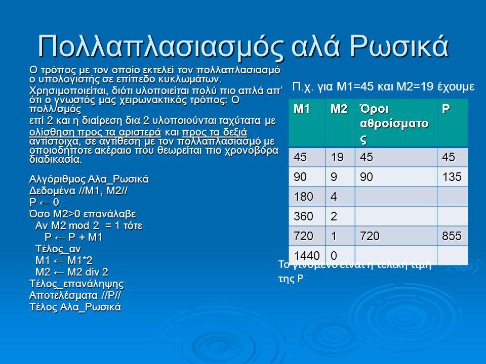 Πολλαπλασιασμός αλά Ρωσικά Ο τρόπος με τον οποίο εκτελεί τον πολλαπλασιασμό ο υπολογιστής σε επίπεδο κυκλωμάτων. Χρησιμοποιείται, διότι υλοποιείται πο