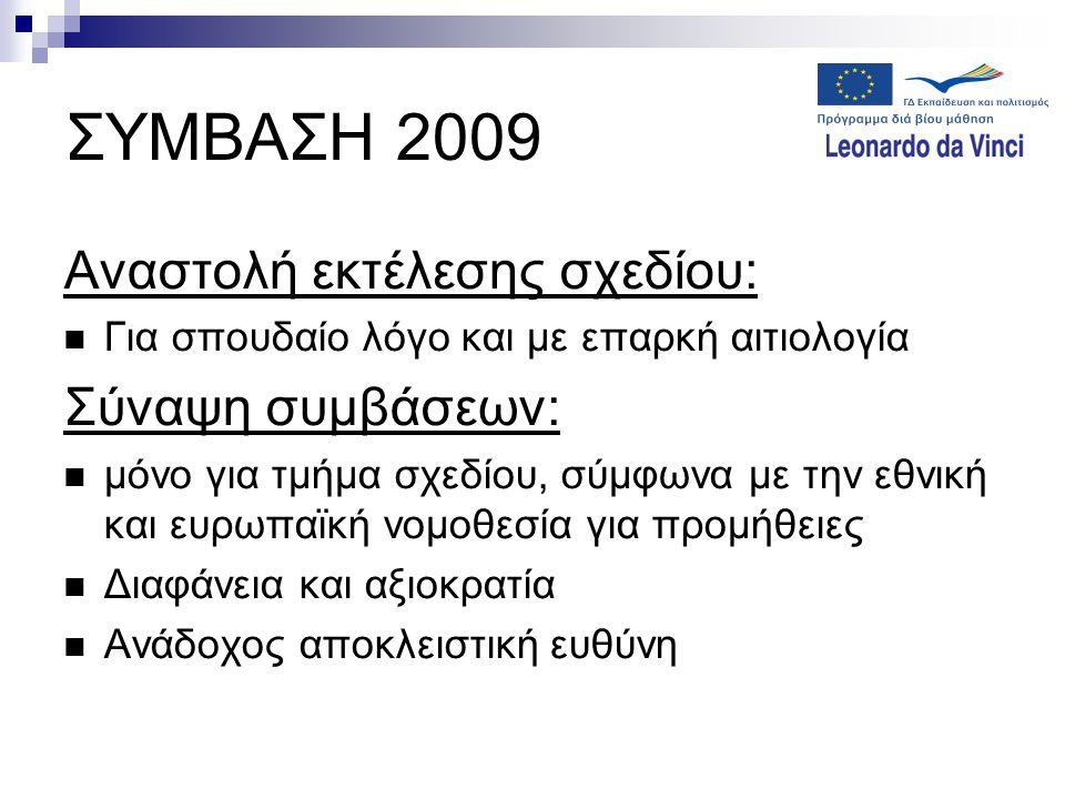 ΣΥΜΒΑΣΗ 2009 Αναστολή εκτέλεσης σχεδίου:  Για σπουδαίο λόγο και με επαρκή αιτιολογία Σύναψη συμβάσεων:  μόνο για τμήμα σχεδίου, σύμφωνα με την εθνικ