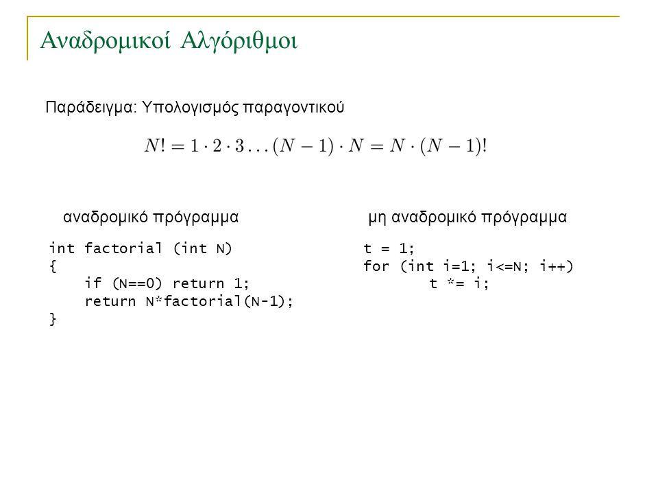 Αναδρομικοί Αλγόριθμοι Παράδειγμα: Υπολογισμός παραγοντικού int factorial (int N) { if (N==0) return 1; return N*factorial(N-1); } αναδρομικό πρόγραμμαμη αναδρομικό πρόγραμμα • Κάθε αναδρομικό πρόγραμμα μπορεί να μετατραπεί σε ισοδύναμο μη αναδρομικό πρόγραμμα.