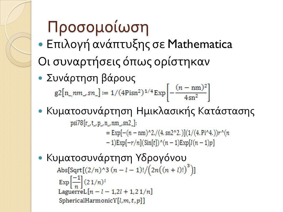 Προσομοίωση  Επιλογή ανάπτυξης σε Mathematica Οι συναρτήσεις όπως ορίστηκαν  Συνάρτηση βάρους  Κυματοσυνάρτηση Ημικλασικής Κατάστασης  Κυματοσυνάρ