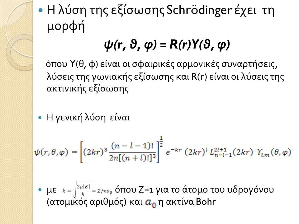  Η λύση της εξίσωσης Schrödinger έχει τη μορφή ψ (r, θ, φ ) = R(r)Y( θ, φ ) όπου Y( θ, φ ) είναι οι σφαιρικές αρμονικές συναρτήσεις, λύσεις της γωνια