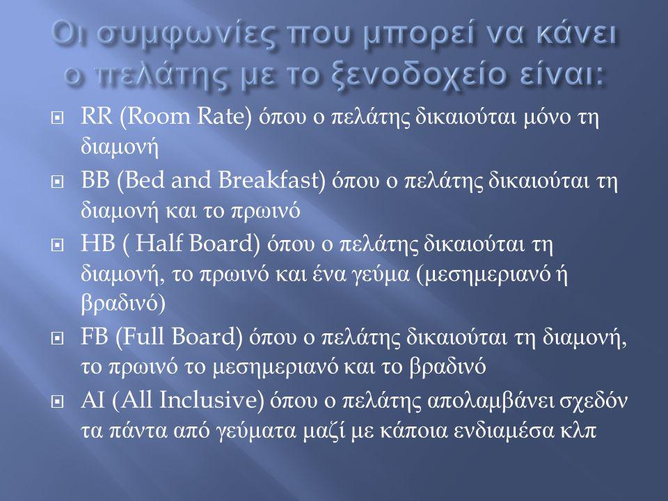  RR (Room Rate) όπου ο πελάτης δικαιούται μόνο τη διαμονή  BB (Bed and Breakfast) όπου ο πελάτης δικαιούται τη διαμονή και το πρωινό  HB ( Half Boa