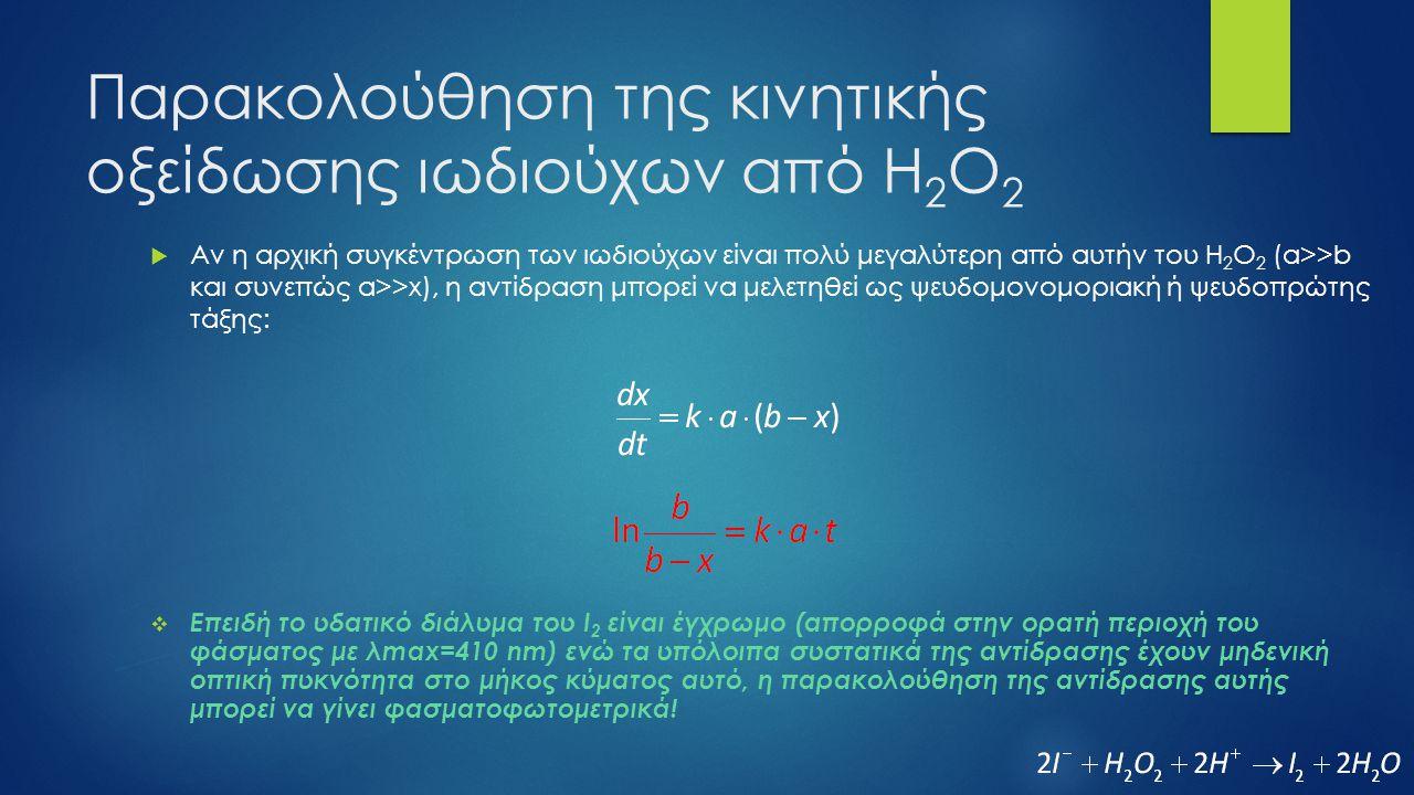 Παρακολούθηση της κινητικής οξείδωσης ιωδιούχων από Η 2 Ο 2  t=0 (η συγκέντρωση του Ι 2 είναι αρχικά μηδέν, x=0):  t (η D t οφείλεται στην συγκέντρωση x του Ι 2 που έχει παραχθεί):  t=  (η D  οφείλεται στην τελική τιμή της συγκέντρωσης του Ι 2 η οποία σύμφωνα με την στοιχειομετρία της αντίδρασης θα είναι ίση με την αρχική συγκέντρωση του Η 2 Ο 2, b):  Επομένως: και
