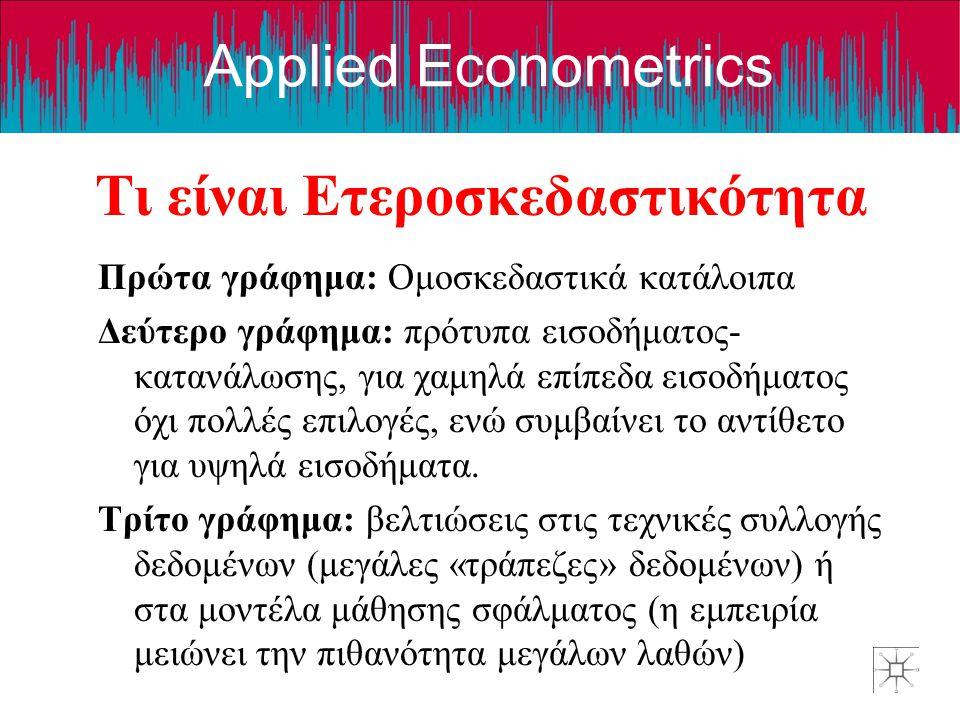 Applied Econometrics Τι είναι Ετεροσκεδαστικότητα Πρώτα γράφημα: Ομοσκεδαστικά κατάλοιπα Δεύτερο γράφημα: πρότυπα εισοδήματος- κατανάλωσης, για χαμηλά επίπεδα εισοδήματος όχι πολλές επιλογές, ενώ συμβαίνει το αντίθετο για υψηλά εισοδήματα.