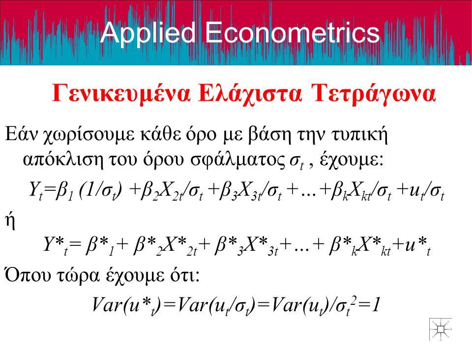 Applied Econometrics Γενικευμένα Ελάχιστα Τετράγωνα Εάν χωρίσουμε κάθε όρο με βάση την τυπική απόκλιση του όρου σφάλματος σ t, έχουμε: Y t =β 1 (1/σ t ) +β 2 X 2t /σ t +β 3 X 3t /σ t +…+β k X kt /σ t +u t /σ t ή Y* t = β* 1 + β* 2 X* 2t + β* 3 X* 3t +…+ β* k X* kt +u* t Όπου τώρα έχουμε ότι: Var(u* t )=Var(u t /σ t )=Var(u t )/σ t 2 =1