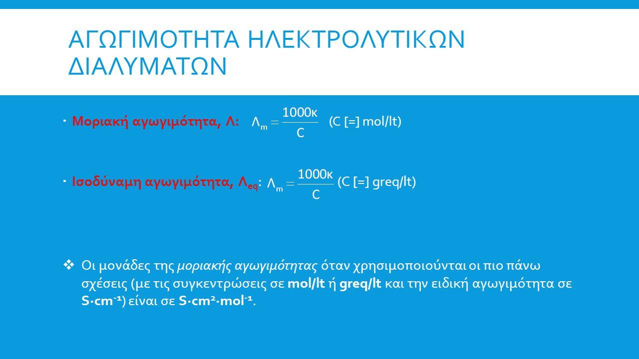 ΑΓΩΓΙΜΟΤΗΤΑ ΗΛΕΚΤΡΟΛΥΤΙΚΩΝ ΔΙΑΛΥΜΑΤΩΝ  Μοριακή αγωγιμότητα, Λ: (C [=] mol/lt)  Ισοδύναμη αγωγιμότητα, Λ eq : (C [=] greq/lt)  Οι μονάδες της μοριακής αγωγιμότητας όταν χρησιμοποιούνται οι πιο πάνω σχέσεις (με τις συγκεντρώσεις σε mol/lt ή greq/lt και την ειδική αγωγιμότητα σε S∙cm -1 ) είναι σε S∙cm 2 ∙mol -1.