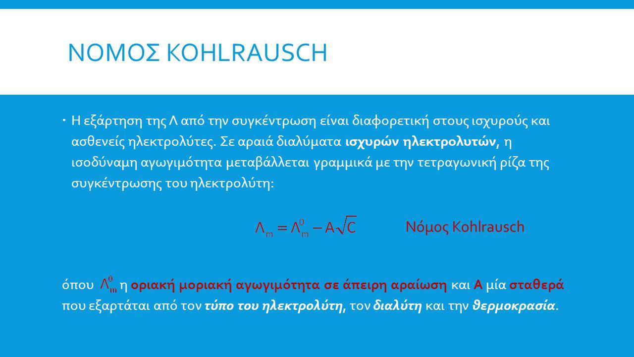 ΝΟΜΟΣ KOHLRAUSCH  Η εξάρτηση της Λ από την συγκέντρωση είναι διαφορετική στους ισχυρούς και ασθενείς ηλεκτρολύτες. Σε αραιά διαλύματα ισχυρών ηλεκτρο